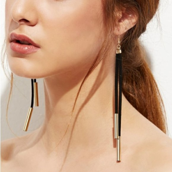 3/$12 Gold Plated Suede Cord Drop Earrings